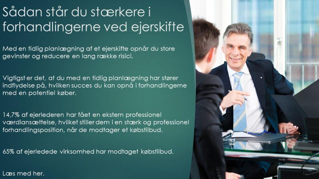 Forhandling ved ejerskifte Værdiansættelse, planlægning